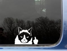 "Grumpy Cat Finger - 5 1/8"" x 3 3/4"" funny die cut vinyl decal / sticker for window, truck, car, laptop or ipad (NOT PRINTED) by 2 Loose Screws, http://www.amazon.com/dp/B00CEZWMZ0/ref=cm_sw_r_pi_dp_2Fs-rb1WZK3GX"