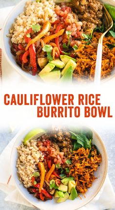 This low carb burrito bowl with cauliflower rice is a delicious way to eat more vegetables! It's Whole 30 vegetarian and customizable for all diets. Vegetarian Burrito Bowl with Cauliflower Rice – A Couple Cooks Whole 30 Vegetarian, Tasty Vegetarian, Vegetarian Burrito, Veggie Burrito, Burrito Recipes, Burrito Bowls, Vegetarian Entrees, Healthy Recipes, Mexican Food Recipes