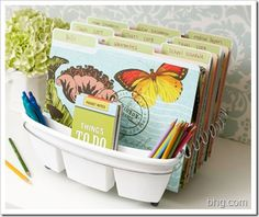 dish drying rack for stacking folders, notebooks, bills or envelopes. the divided section for silverware holds pens and pencils and also small office supplies.