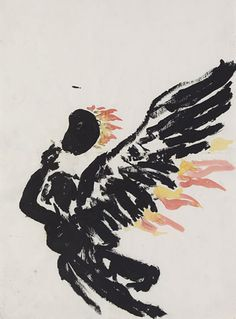 Anselm Kiefer, Schwarzer Engel mit Palette, 1978
