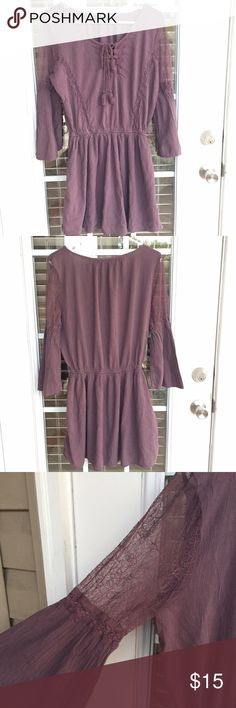 Boho Lace Dress Size large, worn only once! AEO brand. It's a little too big for me, I'm a size 8. I would say it would best fit a 10/12. It has lots of stretch! No flaws. Beautiful lavender color. Lined. It ends slightly above my knee for me, I'm 5'4 💕 American Eagle Outfitters Dresses Midi