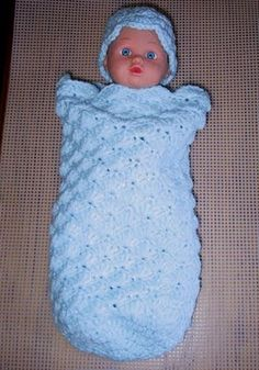Preemie Shell Sleep Sack free crochet pattern - baby head 11""