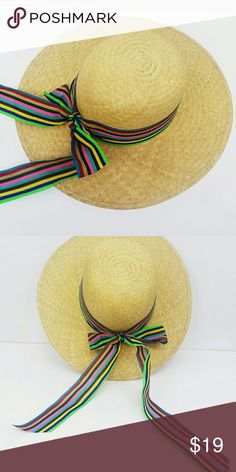 Summer Straw hat with multi color ribbon Summer straw beach hat Accessories Hats