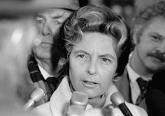 Phyllis Schlafly of Alton, Ill., in Chicago on Wednesday, Dec. 7, 1977, says that she won?t seek the U.S. Senate seat held by Charles H. Percy, also a Republican, in the March 21 primary. Mrs. Schlafly, allied with several conservative causes, conducted the press conference outdoors in Chicago's subfreezing weather. (AP Photo)