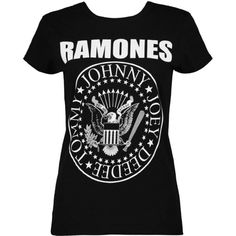 Boohoo Jenny Ramones Band T-Shirt ($24) ❤ liked on Polyvore featuring tops, t-shirts, ribbed tee, long sleeve layering tee, crew neck long sleeve t shirt, high neck crop top and long sleeve jersey