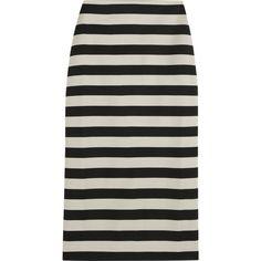 Burberry Prorsum Striped satin-jersey pencil skirt found on Polyvore