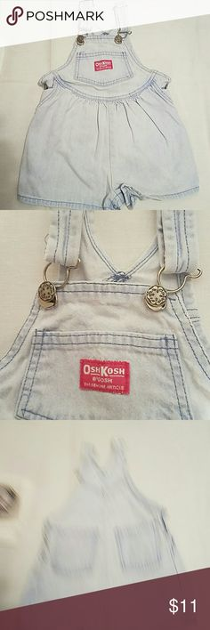 Oshkosh B'gosh Faded Denim Short Overalls 1990's faded blue jeans short overalls, adjustable with 5 pockets! 2 snap crotch size 2T. OshKosh B'gosh Bottoms Jeans