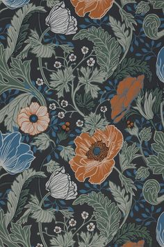 Floral wallpaper Soria is characterised by a fiery dynamic and an unforgettable vibrancy. The anthracite base colour fills the room with a sophisti. Wallpaper Samples, I Wallpaper, Pattern Wallpaper, Green Wallpaper, Papier Paint, Art Nouveau, Motif Art Deco, Vintage Floral Fabric, Asian Decor