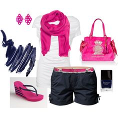 blue and pink vac outfit, created by michell-morley on Polyvore