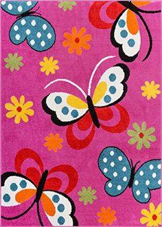 Well Woven Star Bright Daisy Butterflies Kids Area Rug, Girl's, Size: 5 x 7 ft. Well Woven Star Bright Daisy Butterflies Kids Area Rug, Girl's, Size: 5 x 7 ft. Kids Area Rugs, Blue Area Rugs, Butterfly Kids, Butterfly Pattern, Pink Daisy, Pink Blue, Blue Green, Orange Yellow, Bright Pink