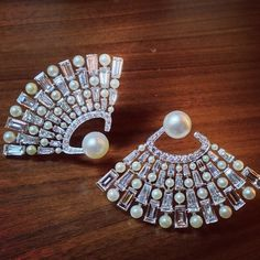 Bhagat Pair of Natural Pearl and Diamond Fan Ear clips