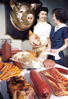 Color Vintage Photo: Meat Products.