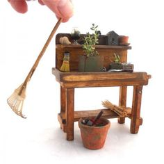 miniature gardening bench and accessories                                                                                                                                                                                 More