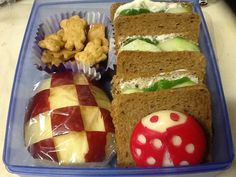 Teddy Bear Picnic Bento.   On rye bread Greek yogurt spread with baby spinach, cucumbers, and tomatoes. Red apple cut for picnic blanket. Teddy bear graham crackers. Baby-bell cheese ladybug.