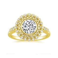 Hallmarked 14K #YellowGold WomensEngagement Ring Size N D/VVS 0.90 Ct Diamond #ForeverJewels #SolitairewithAccents #Engagement