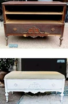 Before/After DIY Repurposing Old Furniture ~ dresser to shabby chic coffee table… - DIY Furniture Couch Ideen Refurbished Furniture, Repurposed Furniture, Shabby Chic Furniture, Furniture Makeover, Painted Furniture, Diy Furniture Repurpose, Dresser Repurposed, Vintage Furniture, Chair Makeover