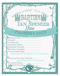 Free Template for LDS Baptism Program.