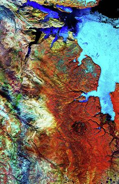 Satellite imagery over Devon Island in northern Canada, close to Greenland.