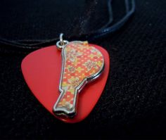 Bird Charm on Red Guitar Pick with Black Ribbon Necklace by ItsYourPick on Etsy