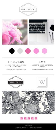 Event planning brand identity and brand board with primary and secondary logo, image selection, typeface, and pattern.