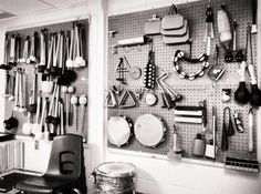 Auxiliary percussion storage pegboard