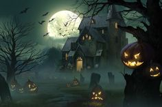 Halloween Artwork, Halloween Scene, Halloween Painting, Theme Halloween, Halloween Pictures, Halloween Wallpaper, Holidays Halloween, Spooky Halloween, Vintage Halloween