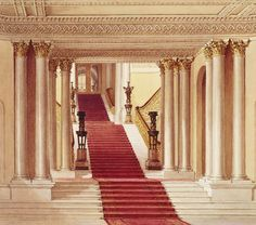 George IV wanted the existing Buckingham House to be transformed into his palace; the King put John Nash, special architect to the Office of Woods and Forests, in charge of the work. Featured here is the grand staircase, designed by Nash. #RoyalResidences #buckinghampalace #buckingham #london #britisharchitecture #englisharchitecture #royalty #architecture #classicalarchitecture #classicism #thecrown