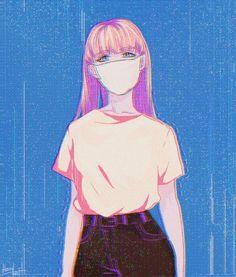 manga, fille, masque, rose, bleu, ...
