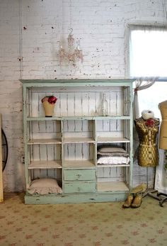 Wow! What a great farmhouse cabinet!      FEATURES:French country design glass paneled sides with lots of storage.    FINISH: Painted with our