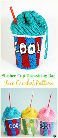 Crochet Drawstring Bags Free Patterns & DIY Tutorials: for kids and adults, drawstring shoulder bags, gift bags and pouches, drinks bags, dice.toy sacks and Crochet Food, Crochet Gifts, Cute Crochet, Crochet For Kids, Easy Crochet, Crochet Ideas, Crochet Cupcake, Crochet Handbags, Crochet Purses