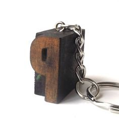 letterpress keychain vintage 1920's letter P wood stamp printers block old antique retro printing patina small mini miniature authentic aged by RecycleBuyVintage on Etsy