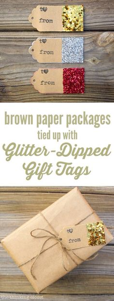 Glitter-Dipped Gift Tags A simple way to add some rustic glam goodness to your brown paper packages this holiday season. I just love how easy this tutorial is! Holiday Crafts, Holiday Fun, Christmas Holidays, Christmas Decorations, Holiday Decorating, Craft Gifts, Diy Gifts, Brown Paper Packages, Christmas Gift Wrapping