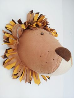 Wall+Mounted+Animal+Heads+in+Fabric++by+GillsPopArtEmporium,+£55.00