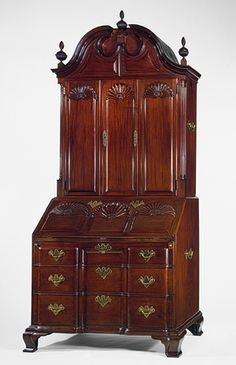 antique secretary, Newport, RI. Block and Shell. ca 1760-90.