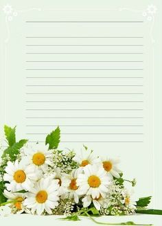 Printable Lined Paper, Free Printable Stationery, Journal Paper, Journal Cards, Frame Border Design, Sunflowers And Daisies, Daily Planner Pages, Notebook Paper, Stationery Paper