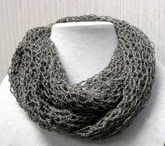 Lacy Infinity Scarf Hand Knitted.  A mix of tan and gray-blue yarn give it a gray textured look