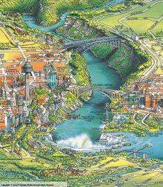 Niagara Falls Unique Media Close-up sample Niagara Falls Map, Visiting Niagara Falls, Medium Close Up, Niagara Region, Unique Maps, Pictorial Maps, Merian, Wall Maps, Map Design