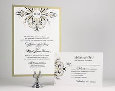Printable Wedding Invitations Gold Wedding Invitation Monogram Wedding Invitations Digital File for Self-Print