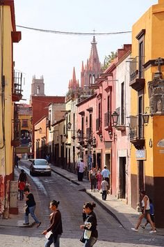 San Miguel de Allende, Mexico, corner of Calles Reloj & Insurgentes.  Walking along the streets in San Miguel never ceased to enchant me.