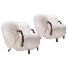 Viggo Boesen: Pair of Rare Fur Upholstered Armchairs | From a unique collection of antique and modern armchairs at http://www.1stdibs.com/furniture/seating/armchairs/