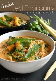 Quick red Thai curry noodle soup- 1tbsp oil, 300g mixed stir-fry vegetables, 2-3tbsp red Thai curry paste, 1 3/4 tin coconut milk, 300g fresh egg noodles, 1 1/4 cup water, 2tbsp fresh coriander,