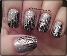 tapered stripe accents topped with glitter | fun night out nail design | #nails #nailart