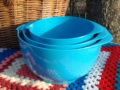 Set of 3 Turquoise Gaydon Mixing Bowls ~ The Picnic Patch ~ Vintage Picnic