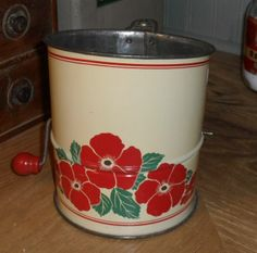 1940s Tin Flour Sifter - Red & Cream with Poppies