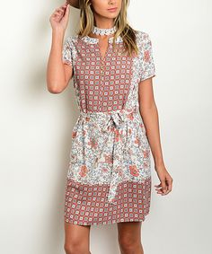 Love this Ivory & Rust Floral Notch-Neck Dress by Shop the Trends on #zulily! #zulilyfinds