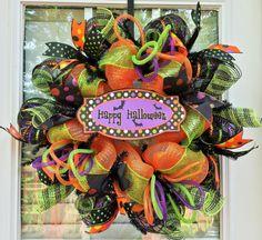 Deco Mesh Halloween Wreath Happy Halloween by AlliannaCreations, $60.00