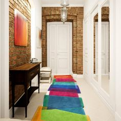 MSS brick hallway Oak Interior Doors, Hallway Colours, Room Color Schemes, Custom Rugs, Contemporary Rugs, White Walls, Floor Rugs, Colorful Rugs, Stepping Stones