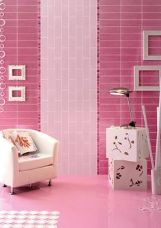 Barbie pink and magenta pink wall tiles for a perfect barbie inspired house. Pink bathroom or bedroom? Lime Green Bathrooms, Industrial Chic Decor, Japanese Bedroom, Pink Tiles, Pink Wall Art, Beautiful Color Combinations, Bathroom Wall, Bathroom Pink, Wall Tiles