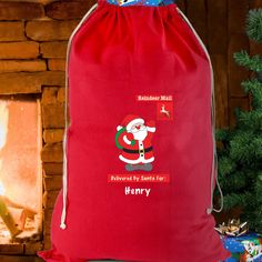 Personalised Father Christmas Red Cotton Sack A perfect way to give your gifts on Christmas Day. Personalise with a name up to 12 characters in length. The words Reindeer Mail and Delivered by Santa For are fixed. All personalisation is case sens http://www.MightGet.com/january-2017-13/personalised-father-christmas-red-cotton-sack.asp