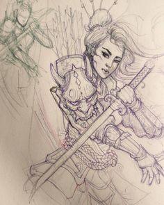 Geisha warrior sketch in progress. #chronicink #asiantattoo #asianink #irezumi #tattoo #sketch #illustration #drawing #geisha #warrior #hannya